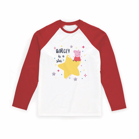 ...is a Star Long Red Sleeve T-Shirt Personalised Red Long Sleeved T-Shirt