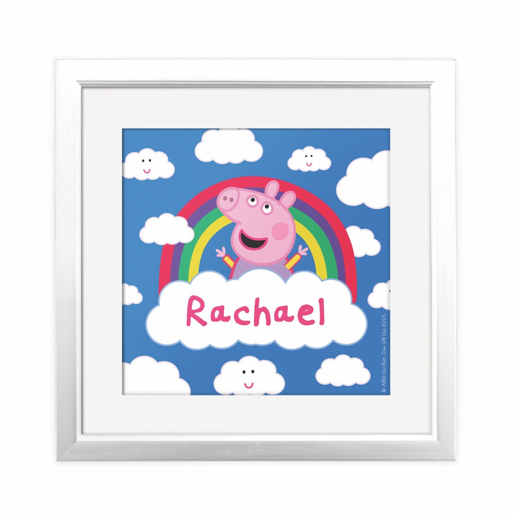 Rainbow Cloud Square Art Print Personalised Square Art Print