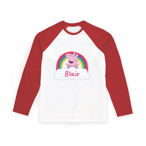Rainbow Cloud Long Red Sleeve T-Shirt Personalised Red Long Sleeved T-Shirt