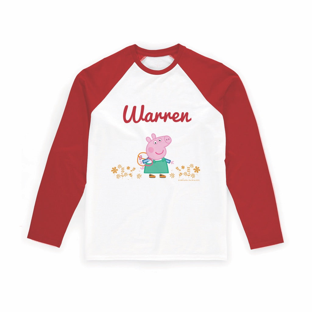 Flowers Long Red Sleeve T-Shirt Personalised Red Long Sleeved T-Shirt