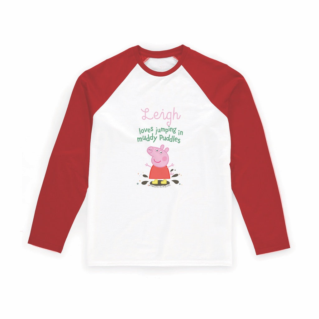 Muddy Puddles Long Red Sleeve T-Shirt Personalised Red Long Sleeved T-Shirt