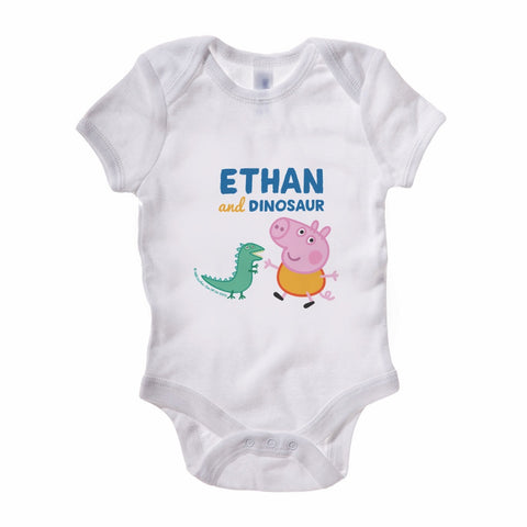 ...and Dinosaur Baby Grow Personalised Baby Grow