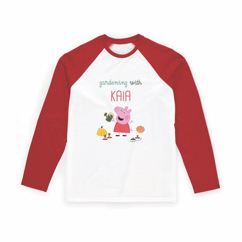 Gardening With... Long Red Sleeve T-Shirt Personalised Red Long Sleeved T-Shirt