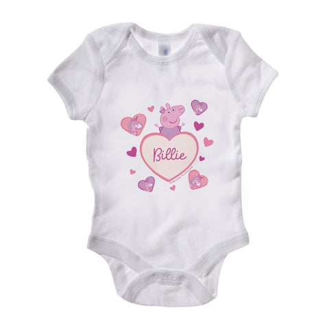 Unicorn Hearts Baby Grow Personalised Baby Grow