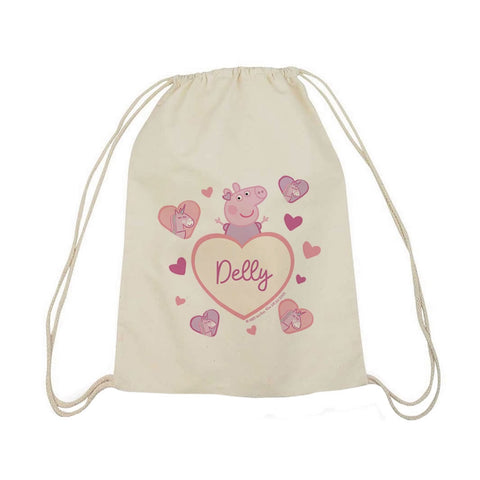 Unicorn Hearts Drawstring Bag
