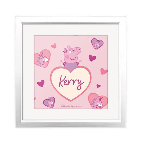 Unicorn Hearts Square Art Print Personalised Square Art Print