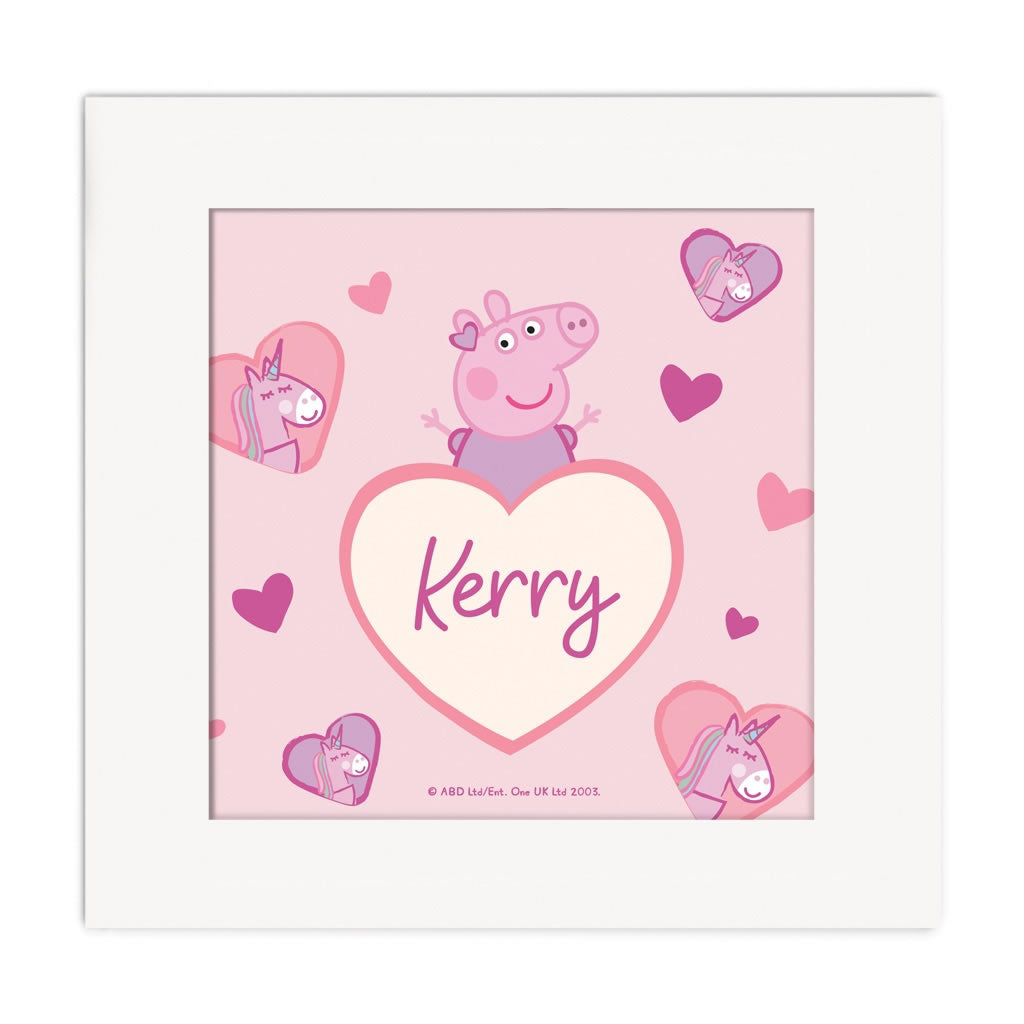 Unicorn Hearts Square Art Print Personalised Square Art Print 2
