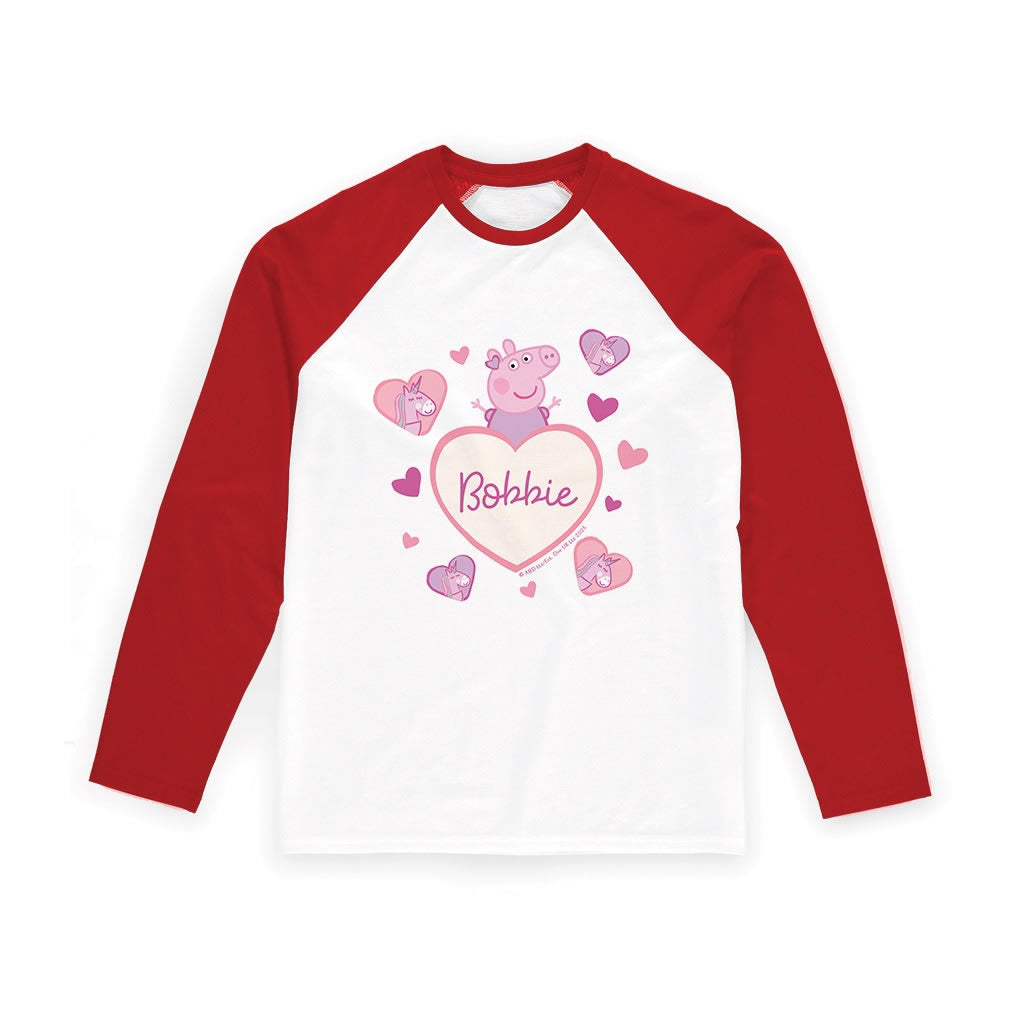 Unicorn Hearts Red Long Sleeved T Shirt Personalised Red Long Sleeved T-Shirt