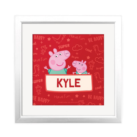 Peppa and George Square Art Print Personalised Square Art Print