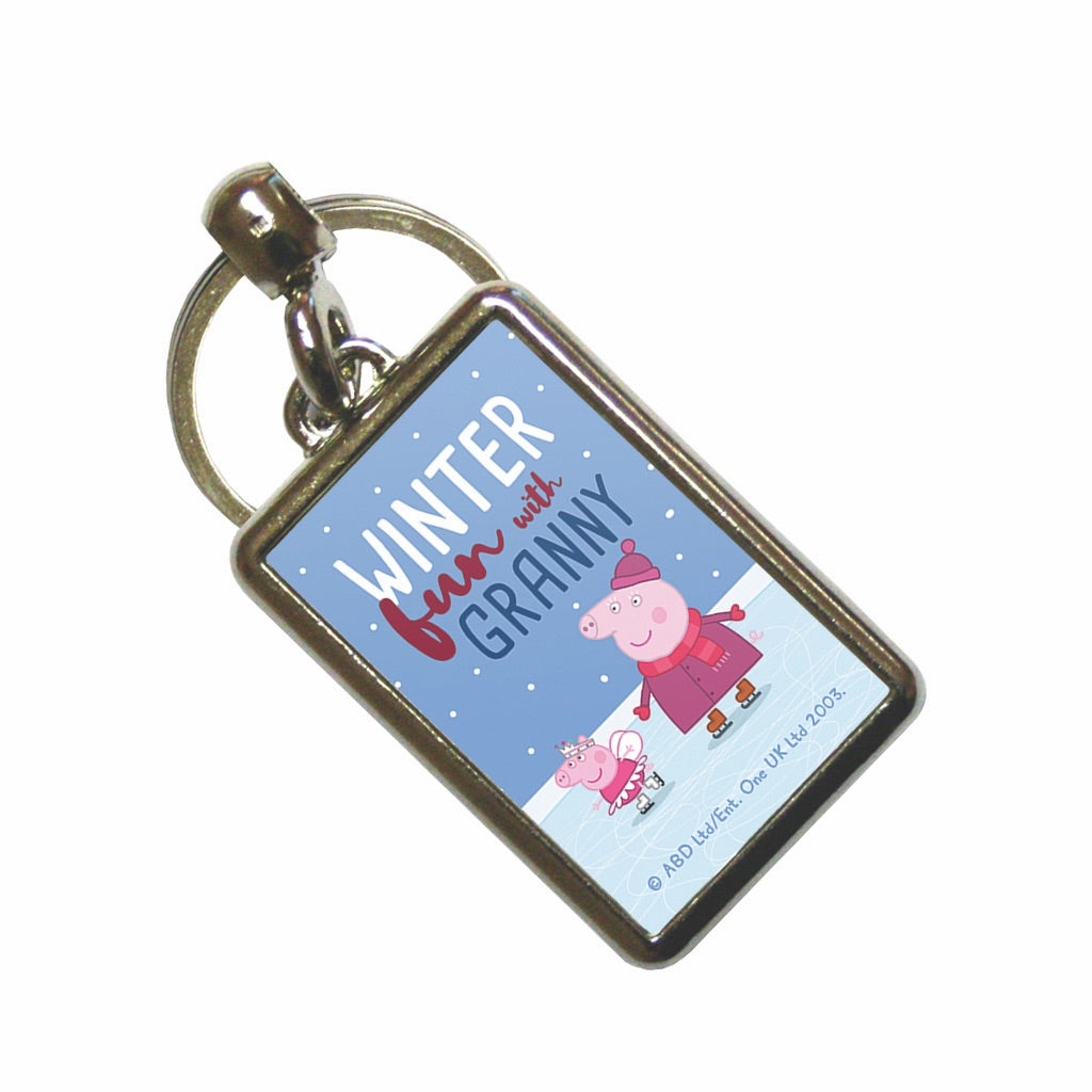 Winter Fun with Granny Metal Keyring