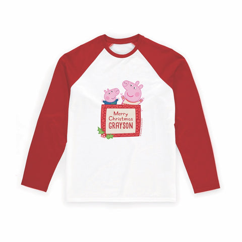 Merry Christmas Long Red Sleeve T-Shirt Personalised Red Long Sleeved T-Shirt