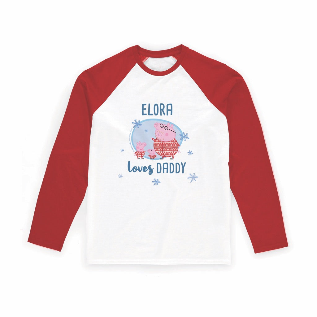 Loves Daddy Long Red Sleeve T-Shirt Personalised Red Long Sleeved T-Shirt
