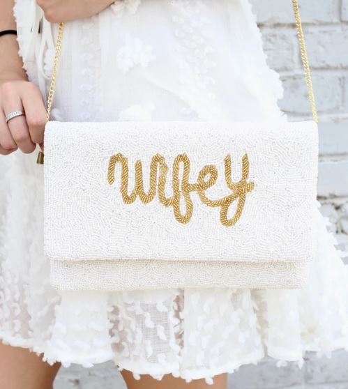Wifey Beaded Clutch