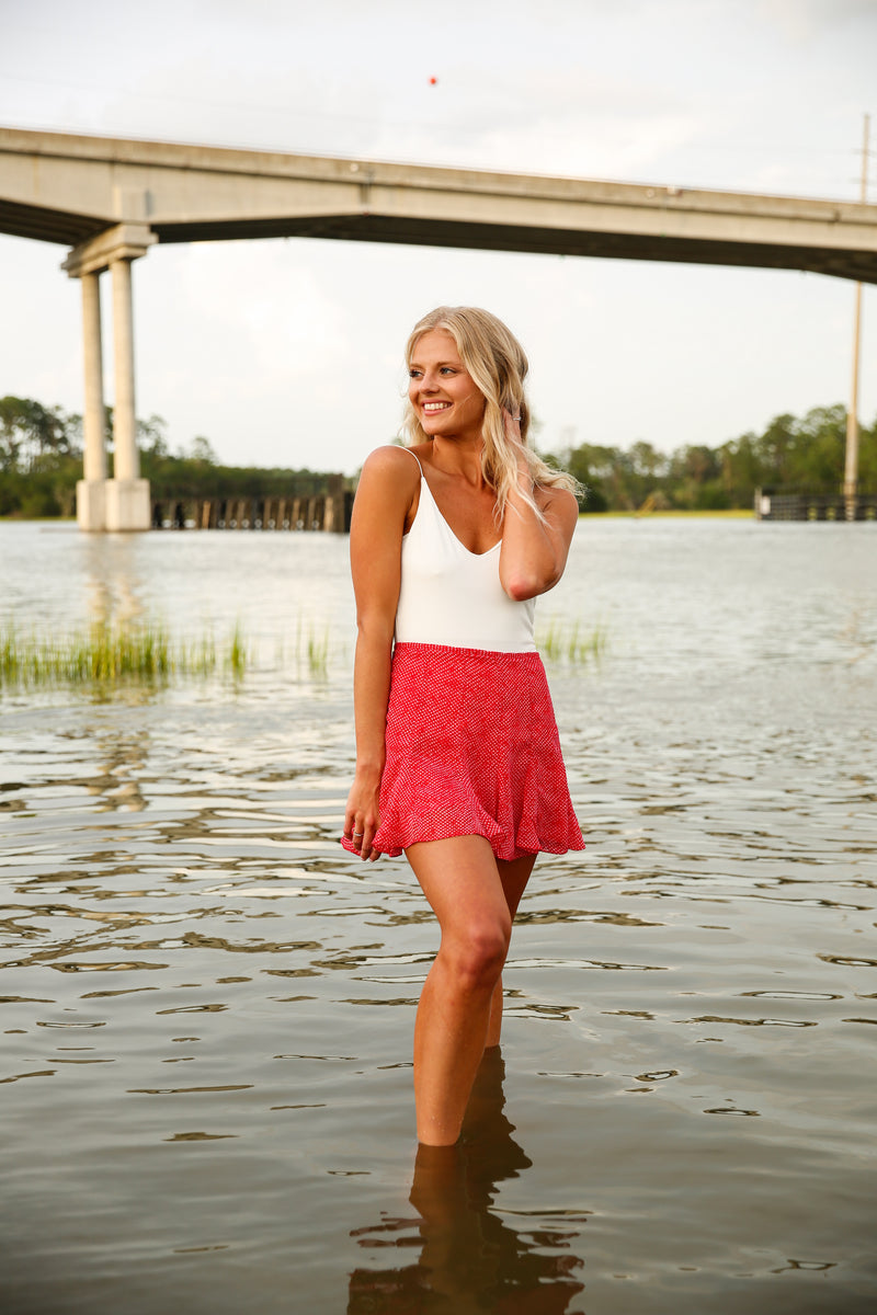 Style me Pretty Red Skort
