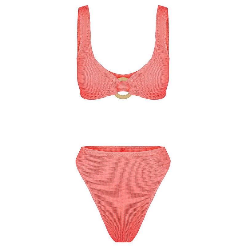 Cheeky G High Brief - Coral | Coral Stripe