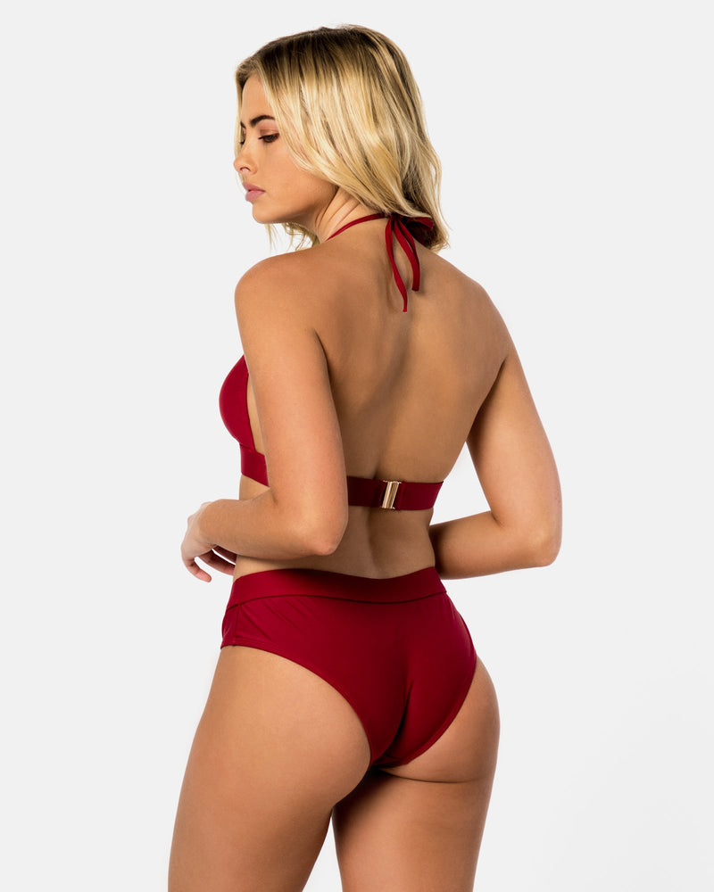 IOS Red Pomegranate Bikini Top Halter Blonde Australian Sustainable Swimwear Recycled Plastic Beachwear