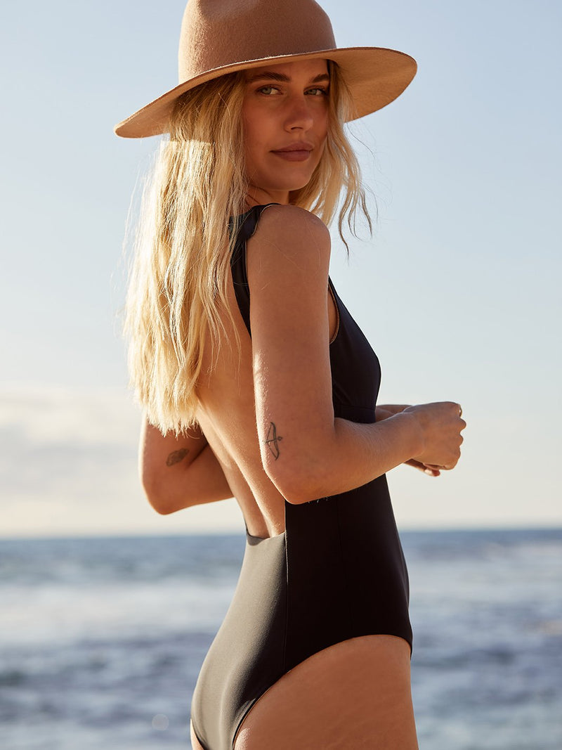 Eco-friendly black one piece swimsuit with the square back slimming body shaping handmade in Australia