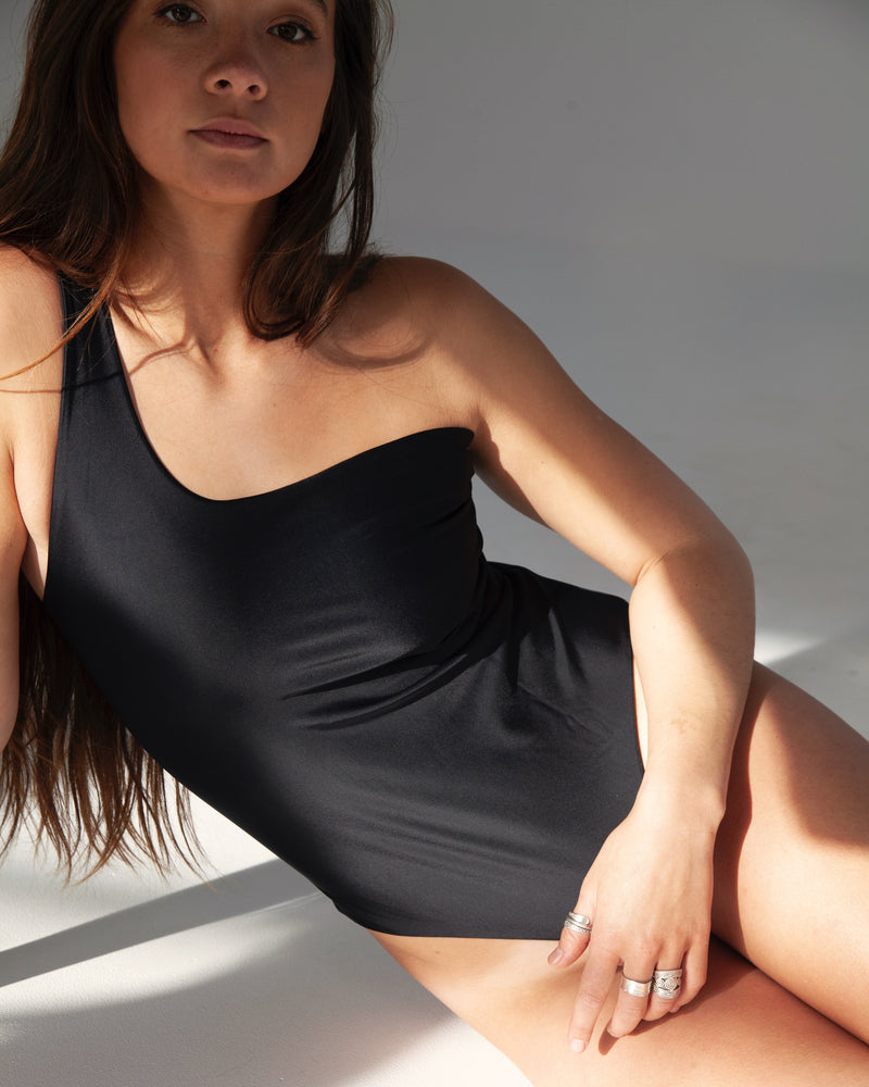 Broome One Shoulder One Piece - Black - TWO SPARROW AUSTRALIA - Ethical Organic Natural Materials Sustainable Australia - One piece - Black / S