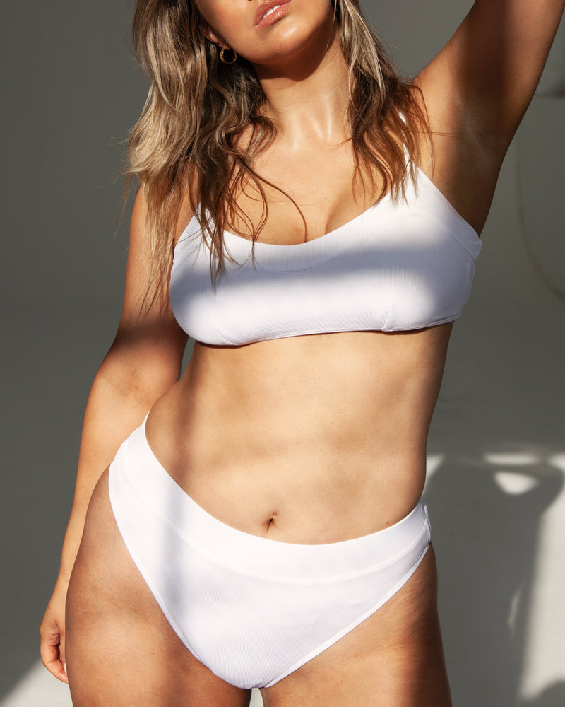 Yamba V Softcup Top - White Rib - TWO SPARROW AUSTRALIA - Sustainable Swimwear Australia - Top - White Rib / XL