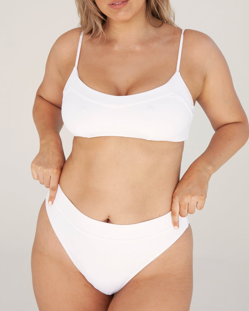 Yamba V Softcup Top - White Rib - TWO SPARROW AUSTRALIA - Sustainable Swimwear Australia - Top -