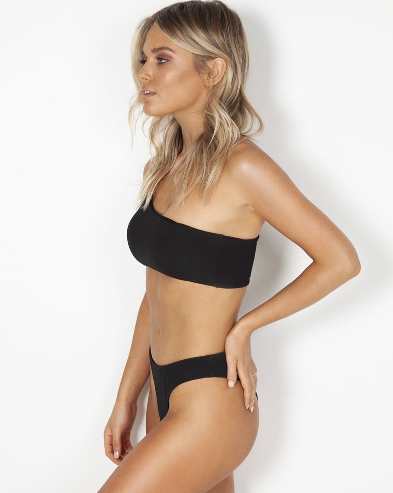 Kirra Midi Bottoms - Black Rib - TWO SPARROW AUSTRALIA - Sustainable Swimwear Australia - Bottoms -