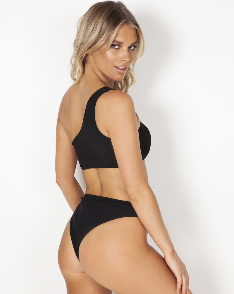 Kirra Midi Bottoms - Black Rib - TWO SPARROW AUSTRALIA - Sustainable Swimwear Australia - Bottoms - Black Rib / XS