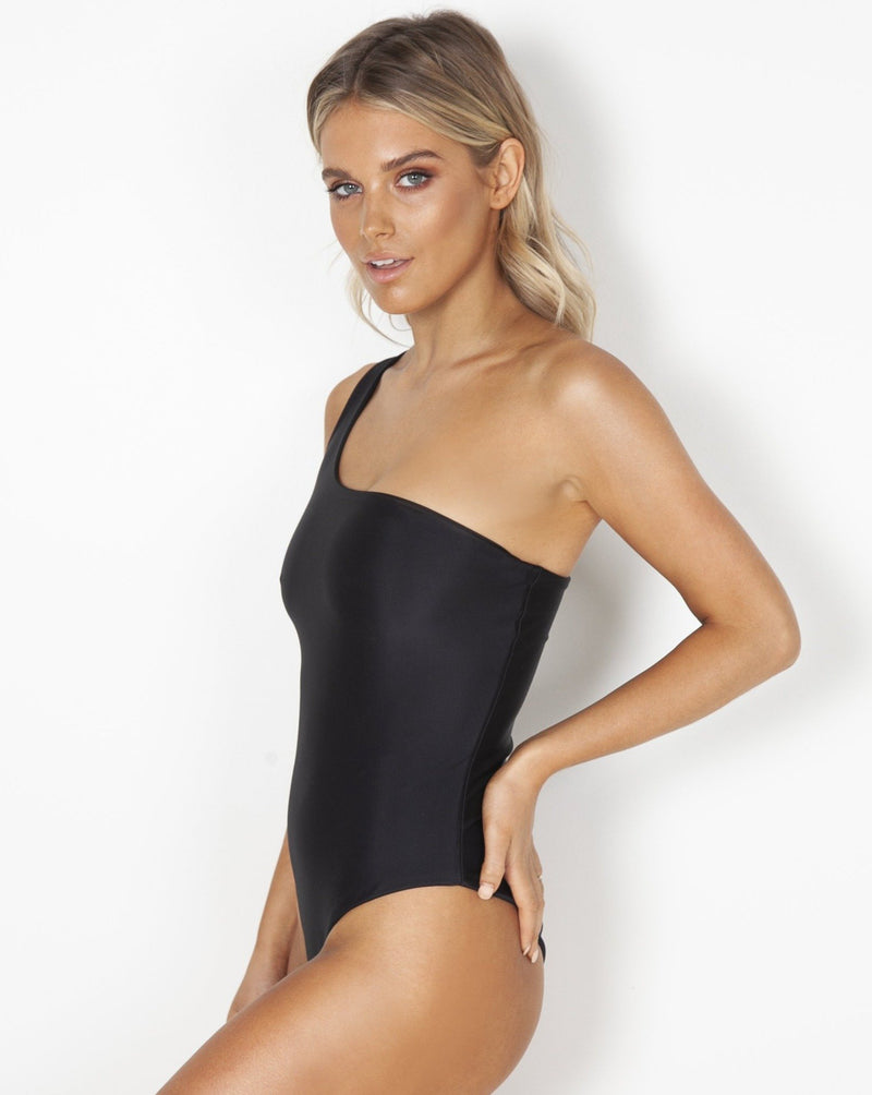 Broome One Shoulder One Piece - Black - TWO SPARROW AUSTRALIA - Ethical Organic Natural Materials Sustainable Australia - One piece -