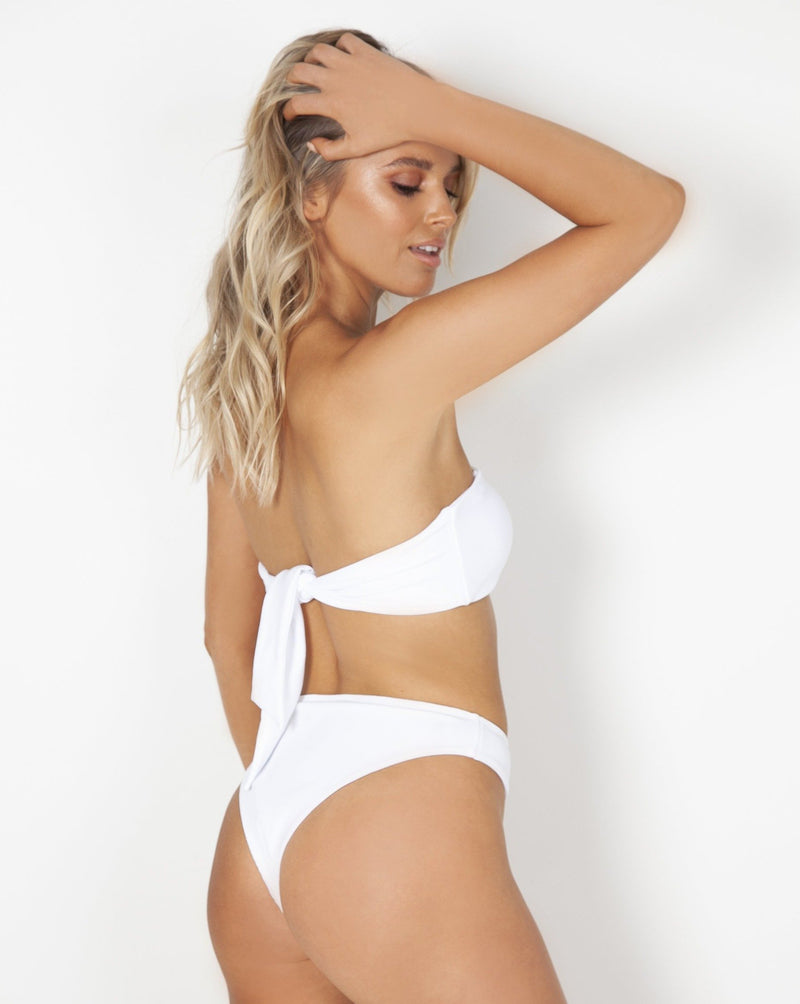 Esperance Strapless Top - White Rib - TWO SPARROW AUSTRALIA - Ethical Organic Natural Materials Sustainable Australia - Top -