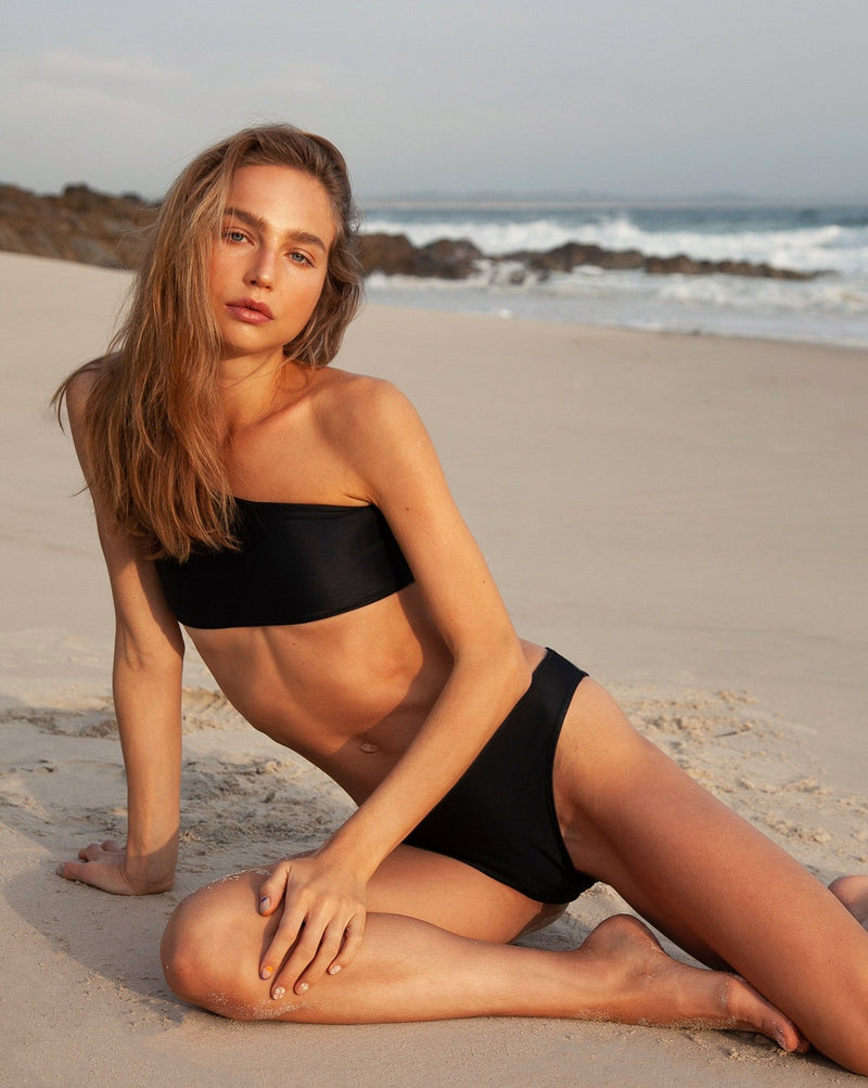 Kirra Midi Bottoms - Plain Black - TWO SPARROW AUSTRALIA - Sustainable Swimwear Australia - Bottoms -