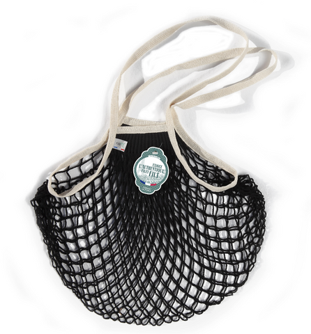 COTTON FRENCH MARKET NET BAG - Black & Ecru