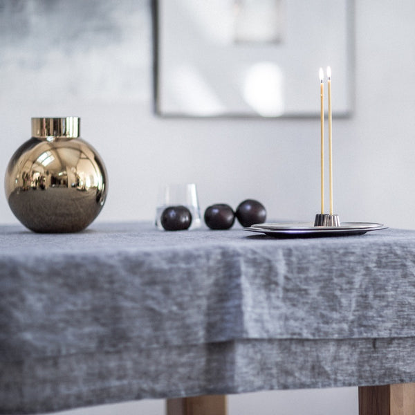 CANNELE BRONZE CANDLE HOLDER - DARK BRONZE