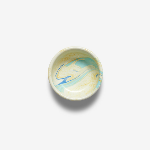 ENAMEL BOWL SMALL MULTI SWIRL LEMON CREAM
