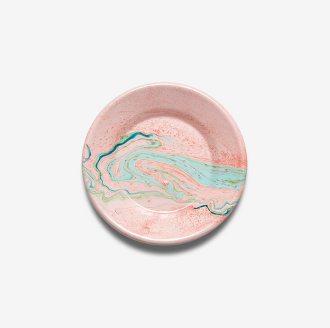 ENAMEL LUNCH PLATE MULTI SWIRL BLUSH