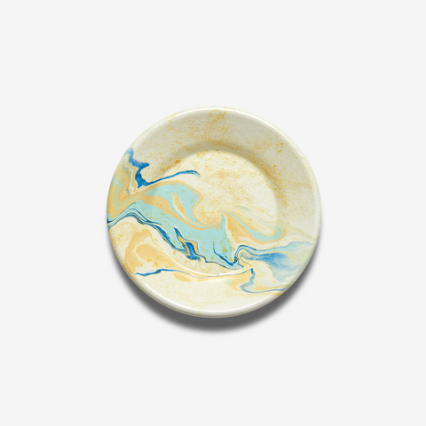 ENAMEL LUNCH PLATE MULTI SWIRL LEMON CREAM