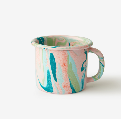 ENAMEL MUG 12 OZ. MULTI SWIRL BLUSH