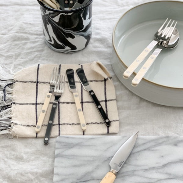 Sabre Paris Bistrot Shiny Flatware Ivory, Dark Grey & Black