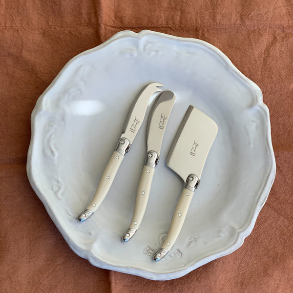 LAGUIOLE IVORY MINI CHEESE SET (CUTTER, SPREADER, FORK TIPPED KNIFE)