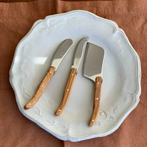 LAGUIOLE OLIVEWOOD MINI CHEESE SET (CUTTER, SPREADER, FORK TIPPED KNIFE)
