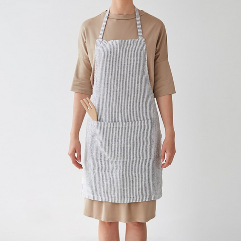 WASHED LINEN APRON - THIN BLACK STRIPES