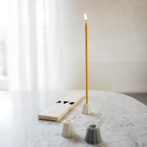 CANNELE PORCELAIN CANDLE HOLDER - MATTE WHITE