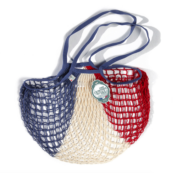 COTTON FRENCH MARKET NET BAG (MEDIUM) - RED, WHITE & BLUE