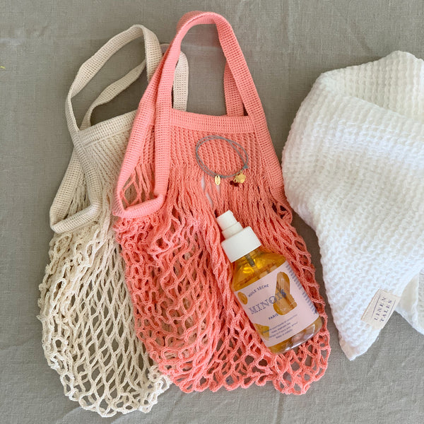 COTTON FRENCH MARKET NET BAG (MINI) - ECRU