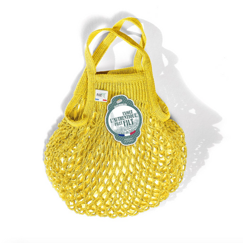 COTTON FRENCH MARKET NET BAG (MINI) - BRIGHT YELLOW