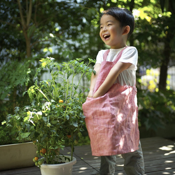 LINEN APRON FOR KIDS - RED CHECK