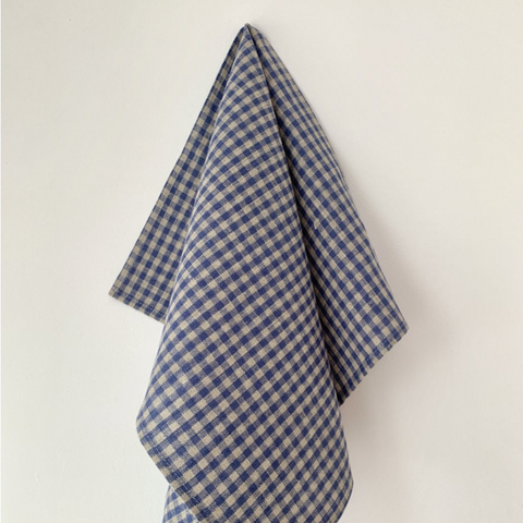 LINEN KITCHEN CLOTH THICK - BEIGE BLUE CHECK