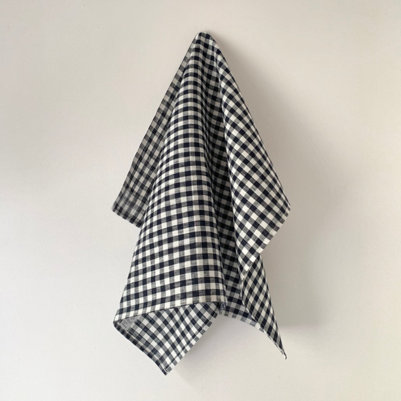 LINEN KITCHEN CLOTH - NAVY WHITE CHECK