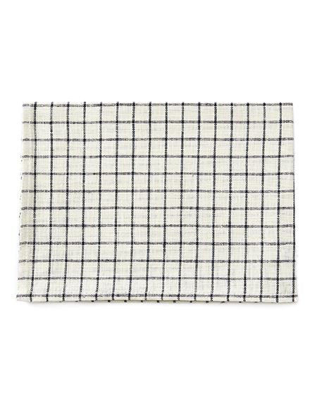 LINEN KITCHEN CLOTH - IVORY WITH NAVY PLAID