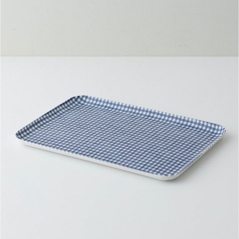 LINEN COATED TRAY MEDIUM - BLUE WHITE CHECK