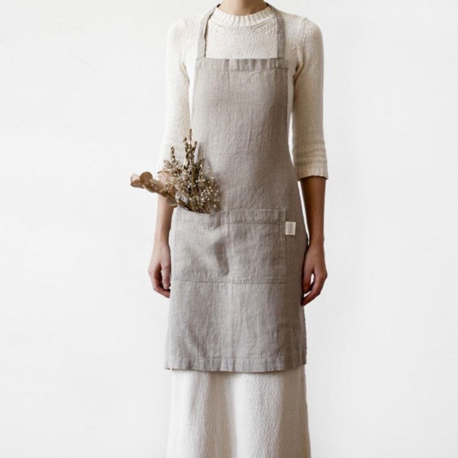 WASHED LINEN APRON - NATURAL