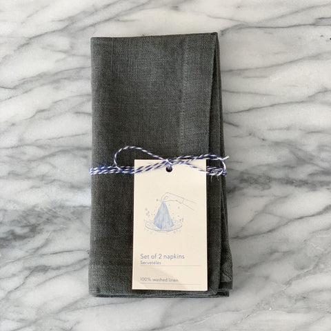Linen Tales Washed Linen Napkins Forest Green
